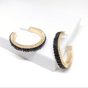 ANTHROPOLOGIE Black Rhinestone Gold Hoop Earrings